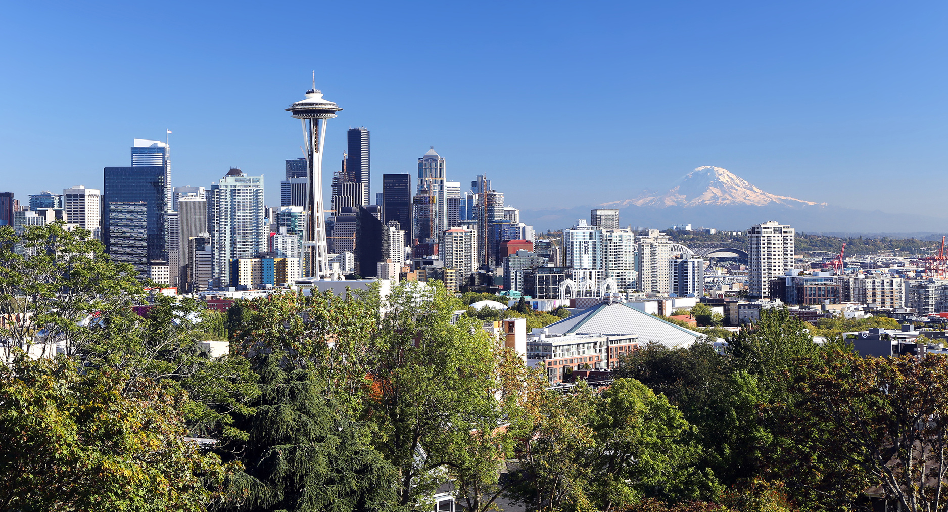 Seattle with Mount Rainier in the background